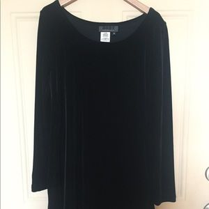 Black velvet A-line swing dress